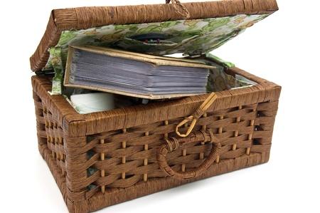 A decorative wooden basket. photo