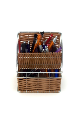 Pencil case full of pencils. photo