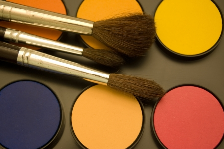 Water color and paint brushes  Stock Photo - 15425489