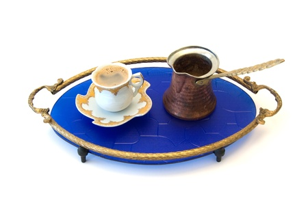 Turkish coffee on blue tray photo
