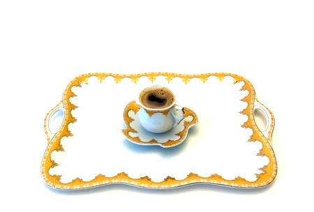 Turkish coffee on tray photo