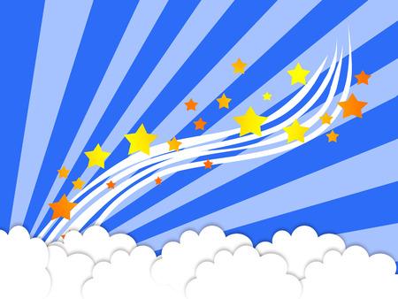 blue background-illustration,cloud & stars Stock Illustration - 1425686