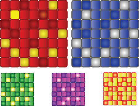 set of 5 vector squares pattern