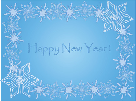 post card: new year post card with snowflakes