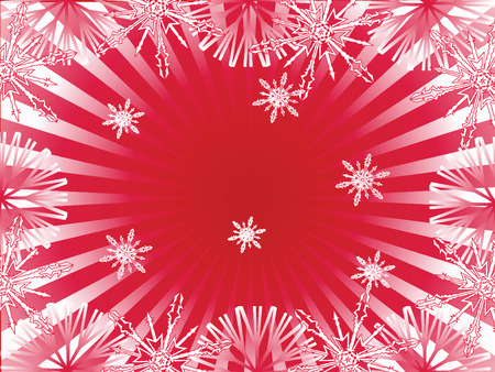 downfall: red winter background with snowflakes,vector illustration