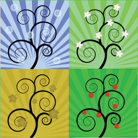 4 seasons of the magic tree,vector illustration Vector