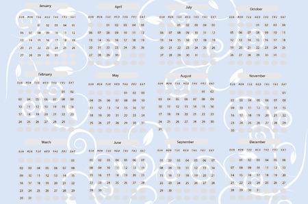 Calendar for 2008, vector