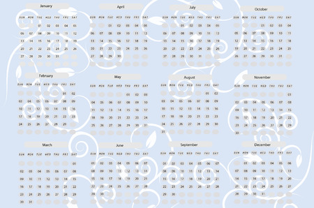 scheduler: Calendar for 2008, vector