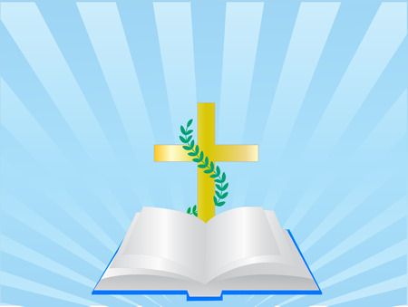 new testament: open bible and christ,vector illustration Illustration
