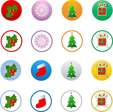 star: Vector christmas icon buttons Illustration