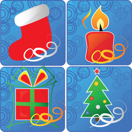 christmas icon: set of 4 cristmas icons,vector Illustration