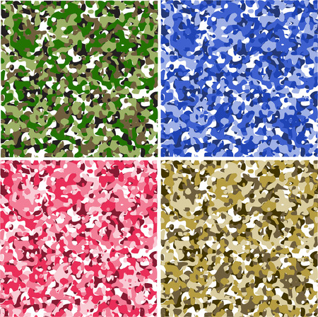 camouflage pattern: Set di 4 camouflage pattern vettoriale