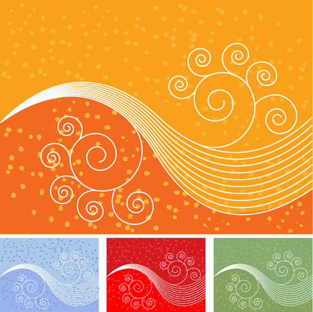 set of grunge background with curl waves Stock Vector - 2239730
