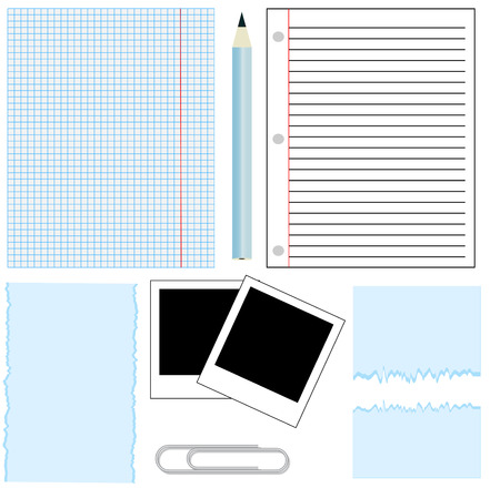office paper,paper clip,and pen Ilustracja
