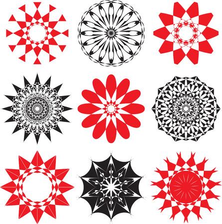 textiles: set of rosette flowers,vector