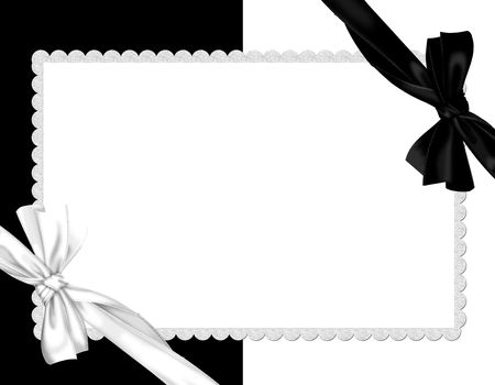 picture border-white and black whit  silk bow Stock fotó