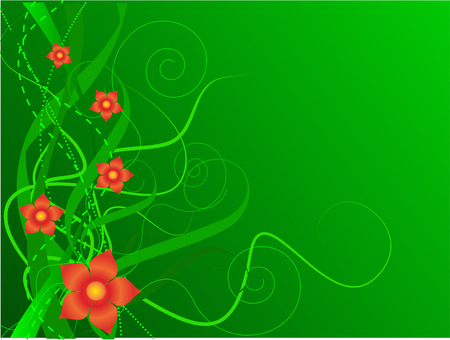 stylistic embellishments: Green floral background, vector illustration