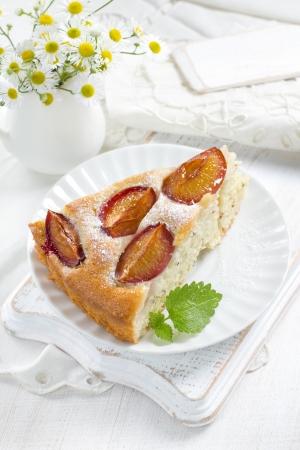Homemade plum pie photo