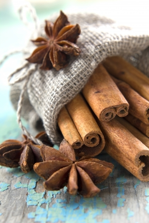 anise: Cinnamon and anise in a small burlap sack Stock Photo