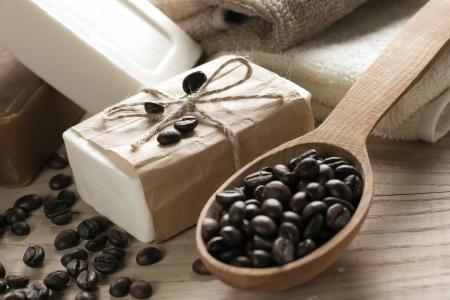 soap sud: Spa coffee soap Stock Photo