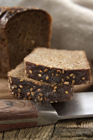 Black bread with sesame seeds photo