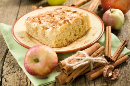 pastel de manzana: Tarta de manzana casera con canela