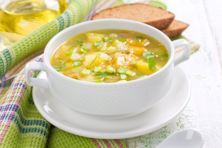 meat soup: Vegetable soup