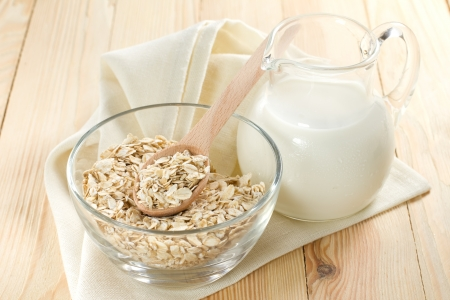 Oat flakes with milk photo