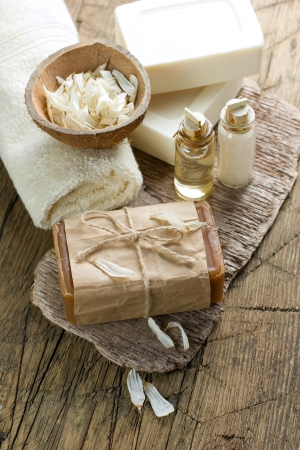 fish spa: Aromatic spa set with soap and herbs