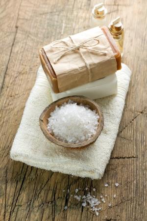 Aromatic spa set with sea salt photo