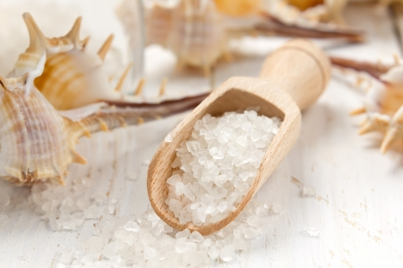 fish spa: Sea salt Stock Photo