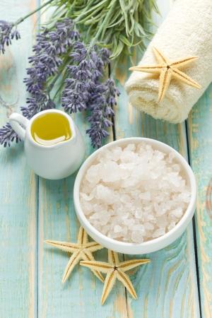 body care: Sea salt and oil Stock Photo