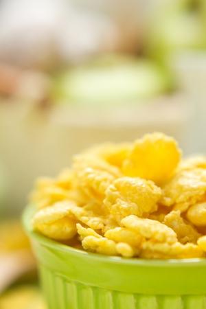 corn flakes: Breakfast. Cornflakes with milk. Stock Photo
