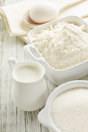 Flour, eggs, milk, sugar photo