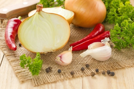 Chilli, onion and garlic Stock Photo - 16454377