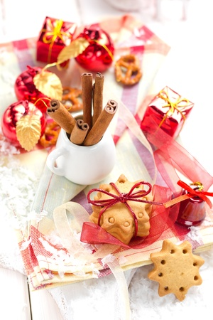 Christmas cookie with cinnamon photo