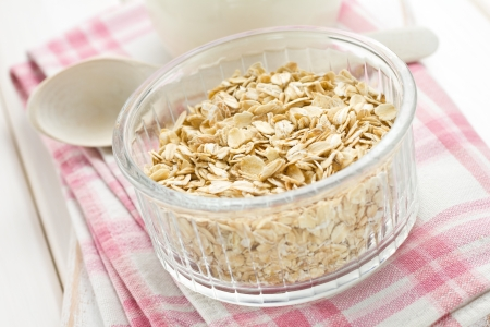 Oat flakes and milk Stock Photo - 16839589