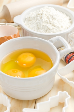 Eggs and flour photo