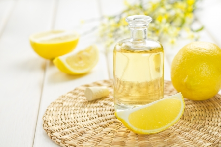 aromatherapy oils: lemon oil Stock Photo