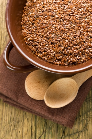 Linseed oil and flax seeds photo