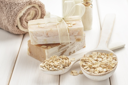 Oatmeal soap Stock Photo - 17513137