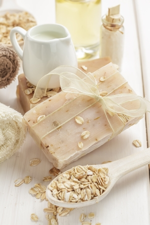 handmade soap: Oatmeal soap Stock Photo