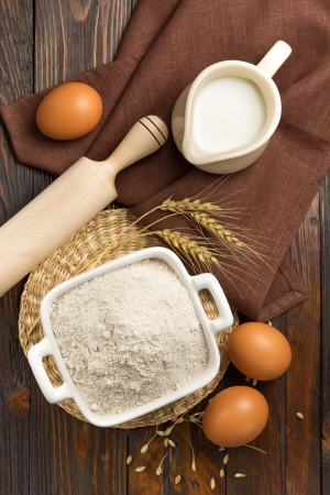 baking bread: Flour, eggs and milk