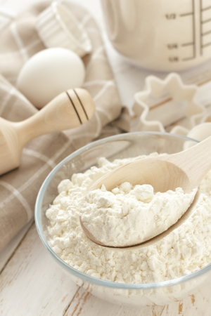 baking ingredients: Flour, eggs and sugar Stock Photo
