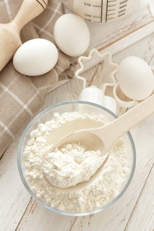 Flour, eggs and sugar photo