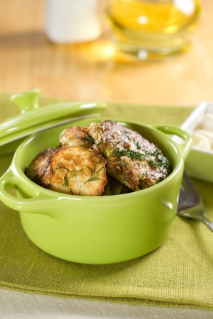 cooking pot: Fried vegetables  Summer squashes