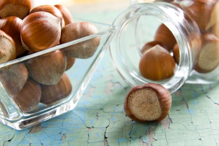 filbert: Hazelnuts (filbert) on the vintage wooden surface