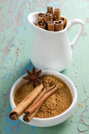 Cinnamon and anise on the vintage wooden surface photo