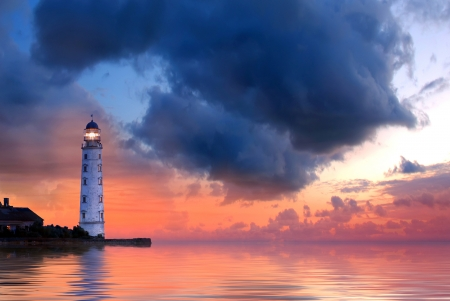 storm sea: Lighthouse