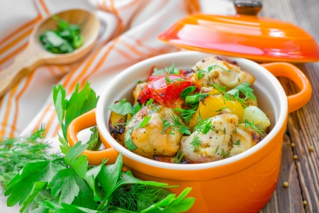 french cuisine: Meat with vegetables Stock Photo